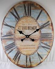 Oval Wall Clock LIFE IS GOOD WELCOME TO THE BEACH Clocks Decorative Home Decor
