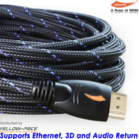 2017 NEW 3D HDMI Cable 4K HighSpeed Premium Braided 4K 25ft 30ft 50ft 1080P Lot