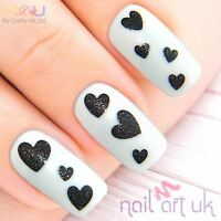 Glitter Black Heart Adhesive Nail Art Stickers Decorations Decals