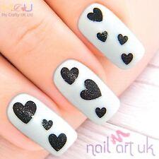 Brillo Negro Corazón Adhesivo Pegatinas de Arte en Uñas Decoraciones Calcomanías