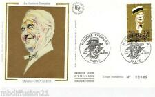 1990//FDC SOIE 1°JOUR!!**MAURICE CHEVALIER-CHANSON FRANCAISE**TIMBRE Y/T 2650