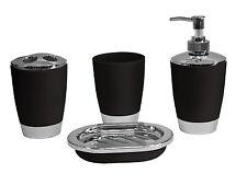 Black 4pc Bathroom Accessory Set Tumbler Lotion Tooth Brush Holder SoapTray Gift