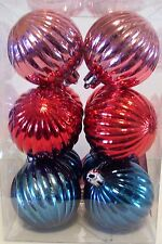 12 RED PINK BLUE 2.25 INCH SHATTER RESISTANT CHRISTMAS ORNAMENT DECORATION