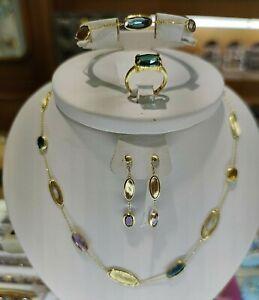Solid gold set necklace bracelet earring ring 14 carats 585 handmade Blue Topaz