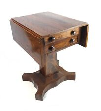Antique 19th Century Empire Mahogany Veneer Drop Leaf Sewing Stand Table