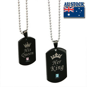 Classic Hers Love Titanium Steel His Queen And Her King Couple Dog Tag Necklace