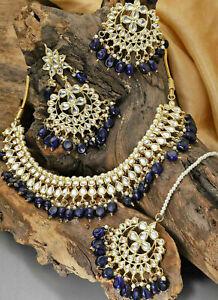 Pakistani Blue Kundan Necklace Choker Earring With Mang Tikka Bridal Jewelry Set