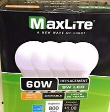 MaxLite 9A19DLED27/G4/4P 9W Led Omni A19 2700K Dimmable LED Light Bulb (4 Pack)