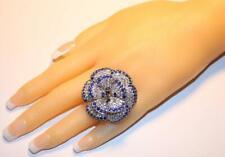 16.26 Carats Huge Sapphire Gemstone Flower Anniversary Women's 925 Silver Ring
