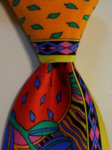 VITALIANO PANCALDI Men's 100% Silk Necktie ITALY Luxury FLORAL Multi-Color EUC