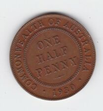 1930 Half Penny Coin Australia shows 6 Pearls & 2 Faint ones H-955