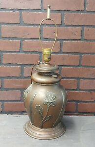 Antique Edward Miller art nouveau bronze Electrified Oil Lamp base