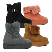 Faux Fur Lined Womens Suede Winter Ankle Boots Fold Over Ladies Size 3 4 5 6 7 8