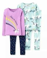 Just One You By Carter's Girls 4 Piece Pajama Set Purple Blue Long Sleeve 3T New