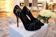 Christian Dior Black Suede Folies Logo Rhinestone Crystal Heels 38 Open Toe