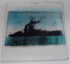 ANTIQUE GLASS MAGIC LANTERN PHOTO SLIDE THE IRON DUKE BRITISH NAVAL BATTLE SHIP