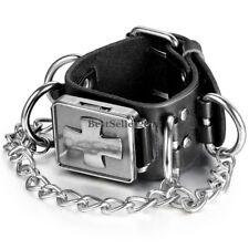 Retro Gothic Cross Men's Wristwatch Black Leather Biker Wristband Analog Watch