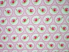 Cottage Shabby Chic Valentine Rose Cameo Hearts Cotton Fabric PWTW078-Pink BTY