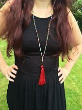 "Long Red And Multi Seed Bead Necklace With Tassel 21"" Boho Hippie Festival Beach"
