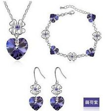 WHITE GOLD PLATED PURPLE HEARTS & DAISY FLOWER AUSTRIAN CRYSTAL NECKLACE SET