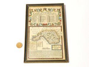 c1722 Road London - St Davids Glamorgan Shire OWEN & BOWEN Map Plate 32 framed
