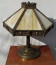 VICTORIAN EGYPTIAN REVIVAL LAMP W/FINELY CASTED BRONZE & 12 SLAG PANEL SHADE