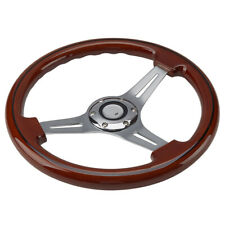 14 inch Alloy Wood Grain Trim Classic Wooden Chrome Spoke Steering Wheel Wooden
