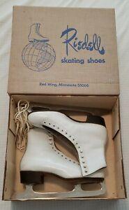 Vintage RIEDELL White Leather Figure Ice Skates 7 1/2 Sheffield MK Blade & Box