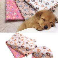 Small Puppy Kitten Soft Blanket Beds Mat Cute Warm Paw Print Fleece Towel