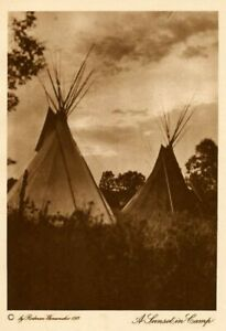 THE VANISHING RACE - A SUNSET IN CAMP - GENUINE - PHOTOGRAVURE  18