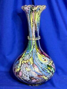 AVeM Murano Italian art glass Tutti Frutti Bizantino pattern large vase