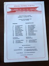 1997-98 ARSENAL VS COVENTRY COCA COLA CUP SINGLE SHEET PROGRAMME