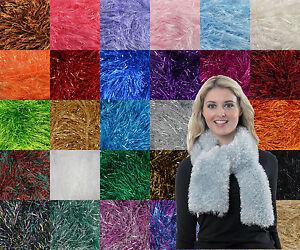 King Cole Tinsel Chunky Glitter Metallic Knitting Yarn All Shades In Stock