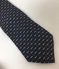 Mens Navy Blue Brown/Gold Drake's Barneys NY Tie 100% Silk Made In England