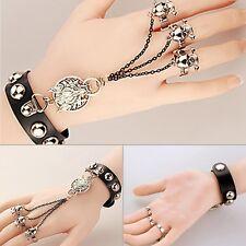 Women Punk Black Skeleton Hand Harness Bracelet Slave Chain Link Finger Ring