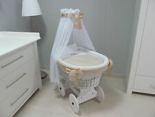 ***The Original White -Beige Wicker Crib, Moses Basket with Canopy for Babies***