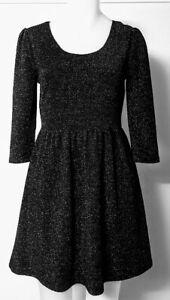 TEMT Black Lurex Dress L Gathered Skirt Scoop Neck 3/4 Sleeve Fit & Flare Lined