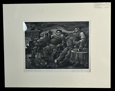 """12"""" Vintage Engraving Fritz Eichenberg A Child's Christmas in Wales III Fat Men"""