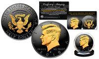 2018 Black RUTHENIUM JFK Half Dollar U.S. Coin 2-SIDED 24K Gold (D-MINT)