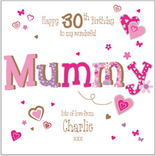 Personalised 30th birthday card mum mummy Any Age/Name/message