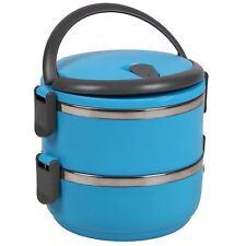 ACERO INOXIDABLE Nivel 2 Azul Aislante Comida Fiambrera Tiffin Emparedados Indio