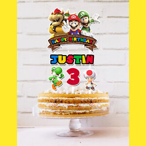 Super Mario Brothers Cake Topper Personalised *STURDY* Birthday Party Decoration