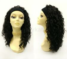 "Headband Heat Resistant Long Curly Wig 20"" Black Layered Synthetic"