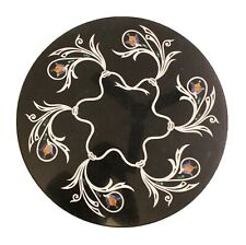 Dining Center Table Top Restaurant Floral Jumbo Inlay Black Madras Design Stone