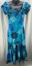 Island Style Hawaii Dress Small Muumuu Blue Ruffle Square Neck Aloha Women 4464