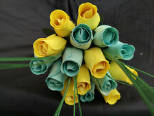 Roses Bouquet Wooden Flowers Wood Artificial Birthday Light Blue, Yellow