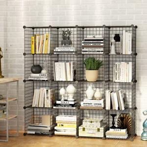 16 Metal Wire DIY Storage Cubes Bookcase Shelving Unit Wardrobe Display Black.