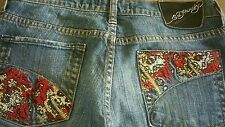 Ed Hardy by Christian Audiger womens jeans with rhinestone pockets, size 29x34