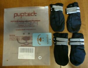 New Set PUPTECK Pet DOG BOOTS Medium Warm Non-Slip Black Reflective Strap NWT
