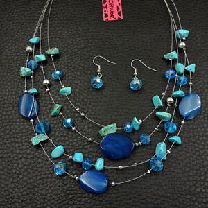 Betsey Johnson Fashion Jewelry Beauty Charming Gemstone Choker Necklace Earrings
